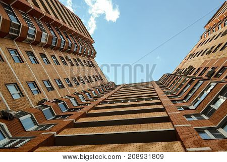 Multi-storey residential building. It is a semicircle. Bottom view