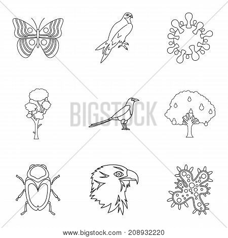 Sick animal icons set. Outline set of 9 sick animal vector icons for web isolated on white background