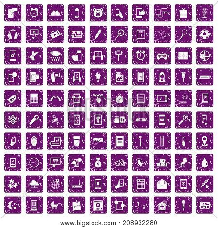 100 mobile app icons set in grunge style purple color isolated on white background vector illustration