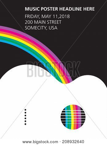 An acoustic guitar and rainbow poster ideal for gig flyers or CD art