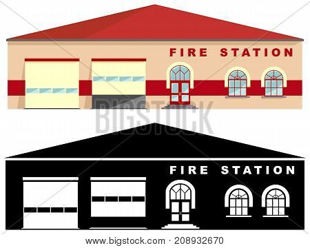 Detailed illustration of fire station building and black silhouette isolated on white background in a flat style.