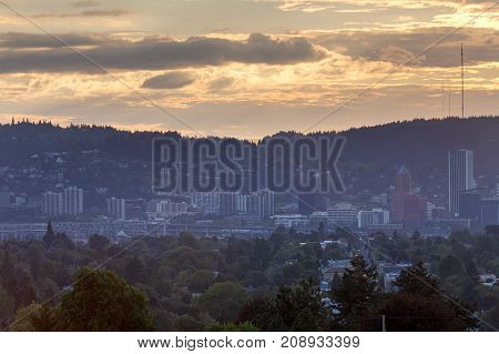 Portland Oregon city skyline by Marquam Bridge Freeway during sunset USA America