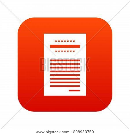 Sales printed receipt icon digital red for any design isolated on white vector illustration