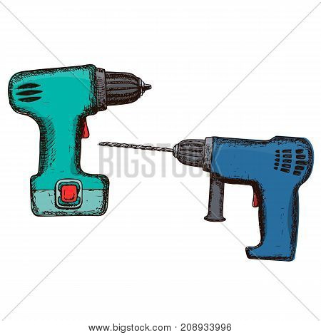 Drill and electric screwdriver on white background, colorful sketch illustration of repair tool. Vector