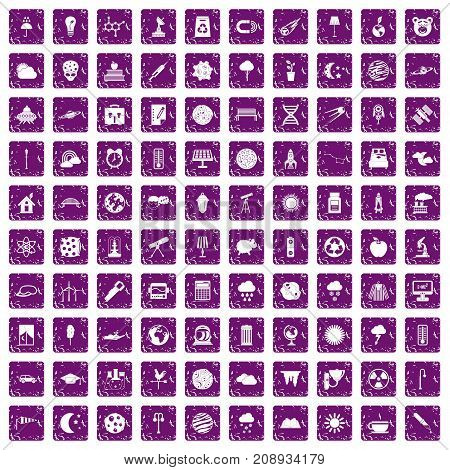 100 moon icons set in grunge style purple color isolated on white background vector illustration