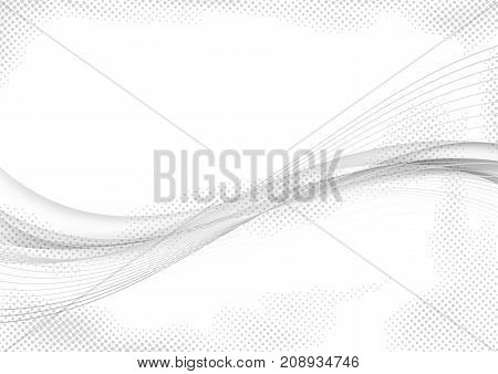 Grey abstract elegant smooth graphic halftone wave design. Elegant Smoke curve over white. Modern beautiful mild dotted motion layout template. Vector illustration
