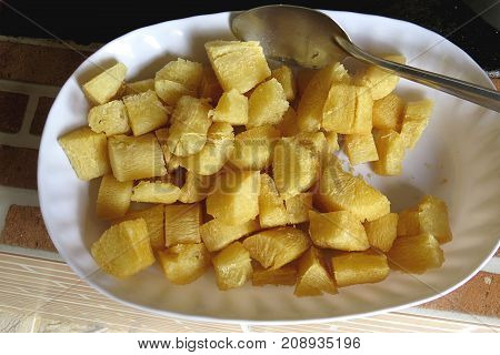 manioc fried in restaurant of typical Brazilian food
