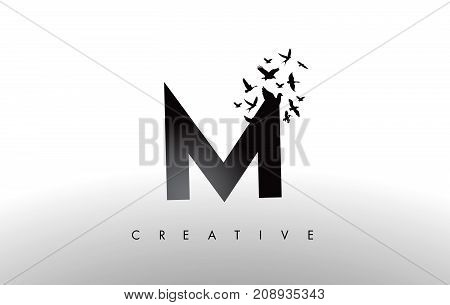 M Logo Letter With Flock Of Birds Flying And Disintegrating From The Letter.