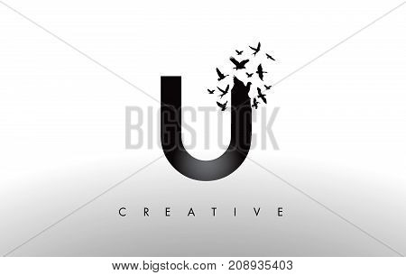 U Logo Letter With Flock Of Birds Flying And Disintegrating From The Letter.