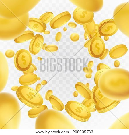 Golden coin explosion realistic abstract background. million dollar lottery game reward. Isolated realistic 3D currency frame over white checkered layout. Casino money rain jackpot. Vector illustration