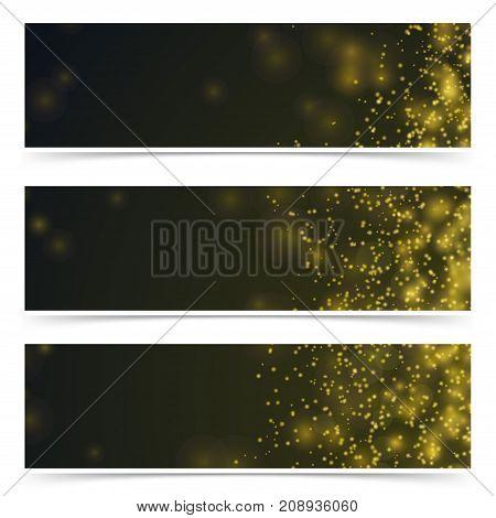 Bright shimmering fireworks sparks over dark background cards collection. Abstract Elegant Bokeh Light Fashion Flyer. Vector illustration