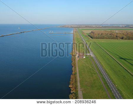 Aerial (drone) shot of Dutch dike Oostvaardersdijk - Almere