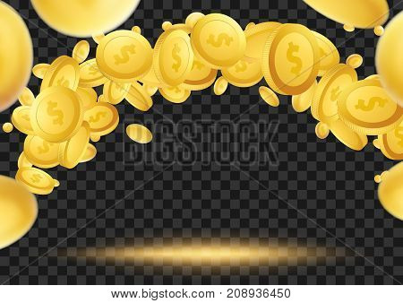 Flying golden coins over dark transparent background. million dollar lottery game reward looning in the air. Vector illustration