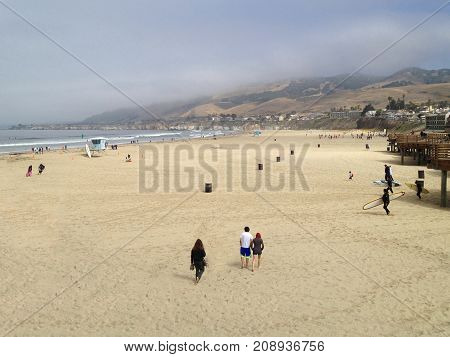 Morning at California Beach as People Arrive