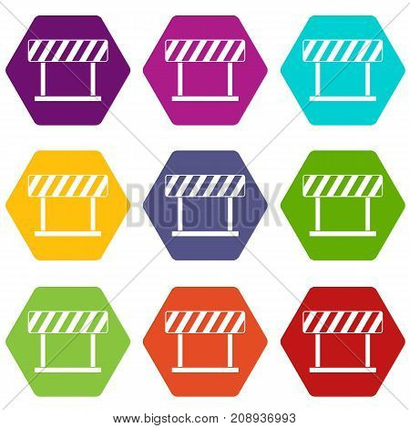 Traffic prohibition sign icon set many color hexahedron isolated on white vector illustration