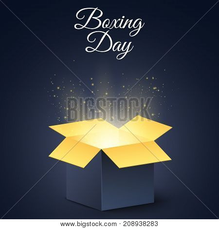 Happy boxing day. A dark golden magic box. Christmas mysterious gift. Poster for sale. Vector illustration
