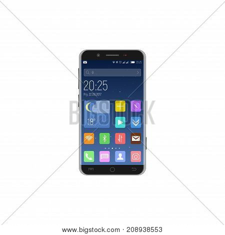 Black unlocked smartphone screen with applications date time alerts and search string in the background of the starry sky. Vector illustration.