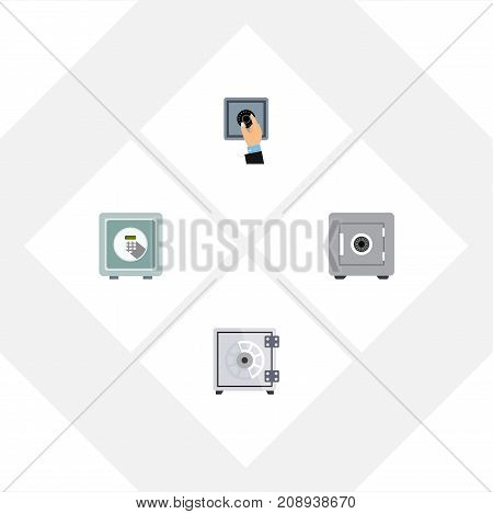 Flat Icon Safe Set Of Locked, Closed, Safe And Other Vector Objects