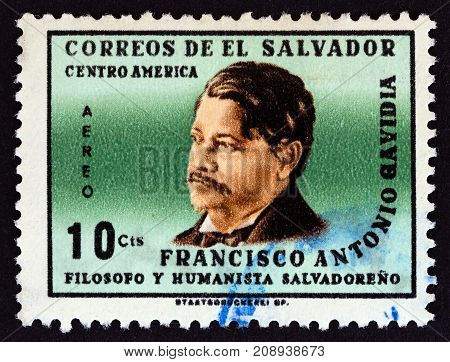 EL SALVADOR - CIRCA 1965: A stamp printed in El Salvador shows philosopher Francisco Antonio Gavidia, circa 1965.