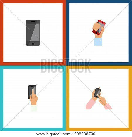 Flat Icon Phone Set Of Interactive Display, Telephone, Touchscreen And Other Vector Objects