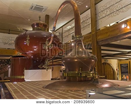 Ancient Charente Alembic In The Cognac Museum. Moscow, Russia.