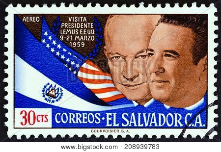 EL SALVADOR - CIRCA 1959: A stamp printed in El Salvador issued for the Visit of President Jose Maria Lemus to U.S shows Presidents Eisenhower and Lemus, circa 1959.