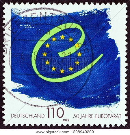 GERMANY - CIRCA 1999: A stamp printed in Germany issued for the 50th anniversary of Council of Europe shows emblem, circa 1999.