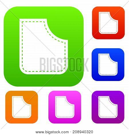 Abstract pocket set icon color in flat style isolated on white. Collection sings vector illustration