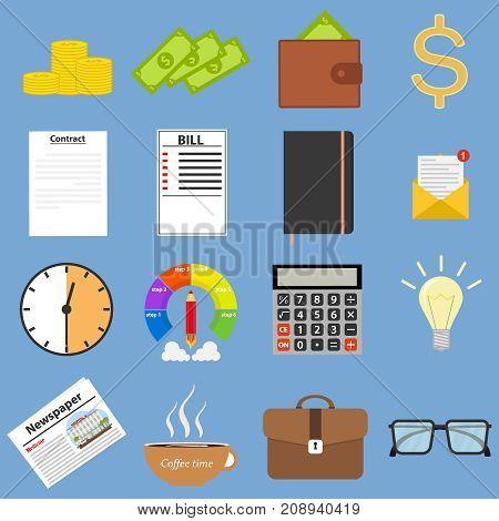 Set for businessman. Notebook, calculator, money, wallet, newspaper. Flat design, vector illustration,