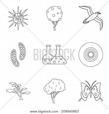 Dangerous virus icons set. Outline set of 9 dangerous virus vector icons for web isolated on white background