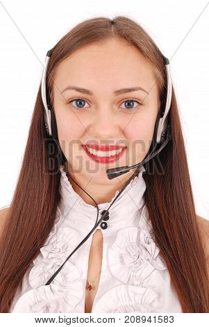 Beautiful customer service operator student girl with headset isolated on white background.