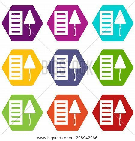 Brick and trowel icon set many color hexahedron isolated on white vector illustration