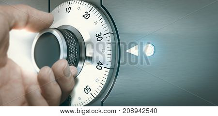 Close up of a hand unlocking a safe deposit box by turning a knob with numbers. Composite image between a hand photography and a 3D background.