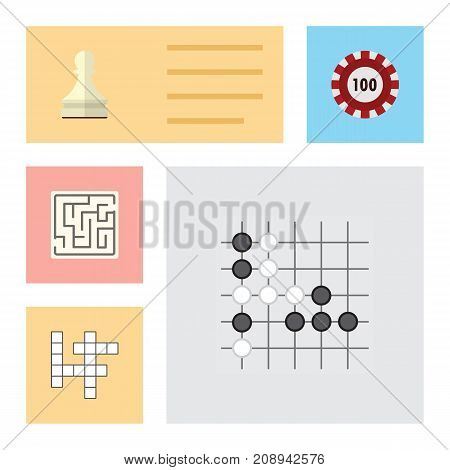 Flat Icon Play Set Of Gomoku, Guess, Pawn And Other Vector Objects
