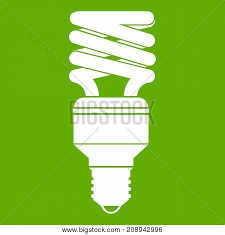 Energy saving bulb icon white isolated on green background. Vector illustration