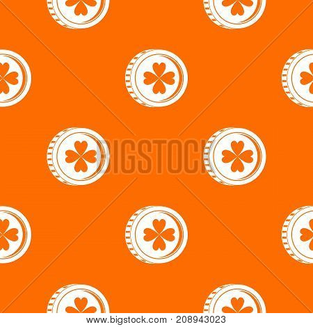 Coin with clover sign pattern repeat seamless in orange color for any design. Vector geometric illustration