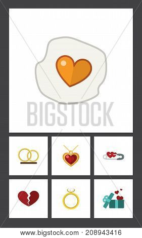 Flat Icon Amour Set Of Divorce, Closed, Engagement And Other Vector Objects