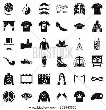 Mode icons set. Simple style of 36 mode vector icons for web isolated on white background
