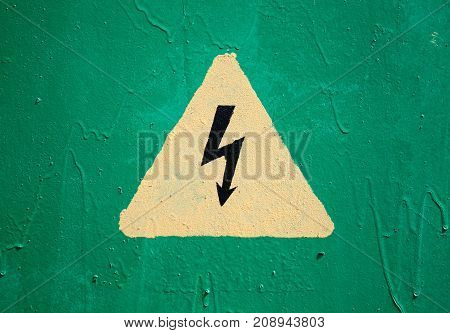 Yellow High Voltage Triangle Warning Sign