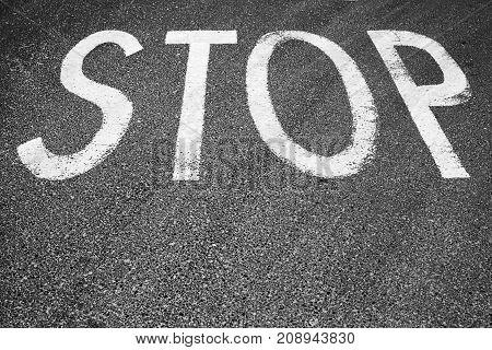 Road Marking, Stop Line Label On Asphalt