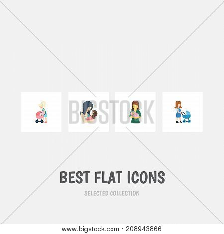 Flat Icon Parent Set Of Perambulator, Mother, Woman And Other Vector Objects