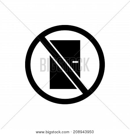 Icon of no entry. Door, forbidden, restriction. Safety signs concept. Can be used for topics like admittance, access, prohibition