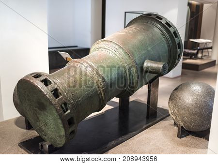 Paris; France- May 02; 2017: Cast metal cannon. Museum of Orsay