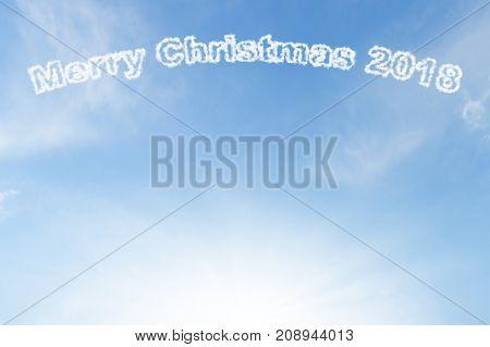 Merry Christmas 2018 cloud and sunshine on blue sky