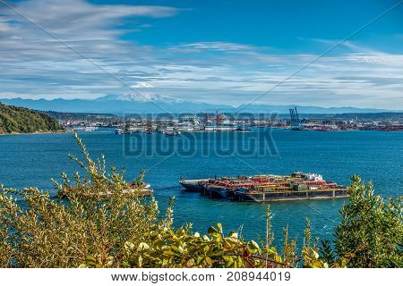 HDR version of Mount Rainier and the Port of Tacoma.