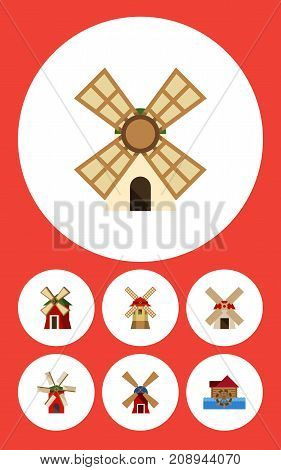 Flat Icon Alternative Set Of Turbine, Rural, Power And Other Vector Objects