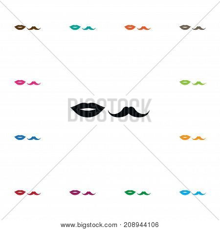 Moustache Vector Element Can Be Used For Lips, Moustache, Mouth Design Concept.  Isolated Lips Icon.