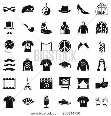 Style icons set. Simple style of 36 style vector icons for web isolated on white background