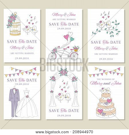 Vector set of wedding save the date and invitation hand drawn cute cards, with wedding dress, groom suit, bicycle, cute birds, wedding cake, birdcage, arch.
