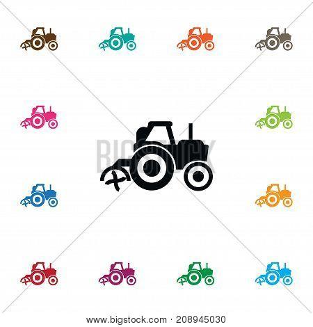 Combine-Harvester Vector Element Can Be Used For Husbandry, Agriculture, Transport Design Concept.  Isolated Agriculture Transport Icon.